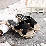 Chanclas de baño o Playa,Sandalias de Masaje de Interiores de Ocio. Transpirable Cruz lavandería-Negro_37,Zapatillas de Masaje de pies