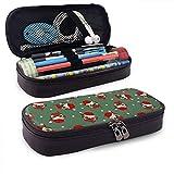 Estuche para lápices Cute Christmas Angel Themed Pattern Printed Mini School Pencil Case Holder Pouch Office Pen Box Zipper Bag Set Pu Leather Zip for Girls Boy Accesorios