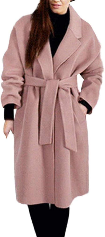 Cloudless Women's Woolen Belt Solid color Jacket Pocket Long Coat