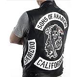 Sons Of Anarchy/Chaleco Punk Rock de cuero bordado disfraz de Cosplay...