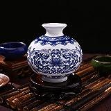 Rosepoem Jarrón de Flores de Porcelana, decoración Floral Oriental Antigua, jarrón de Porcelana Azul y Blanco, jarrón de cerámica para decoración y Regalo - C5