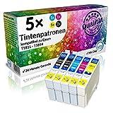N.T.T.® 5 x Stück XL Druckerpatronen / Tintenpatronen kompatibel zu T1811-T1814 Epson Expression Home XP-102 ; XP-202 ; XP-205 ; XP-30 ; XP-302 ; XP-305 ; XP-402 ; XP-405 ; XP-405WH; XP-212 ; XP-215 ; XP-312 ; XP-315 ; XP-412 ; XP-415