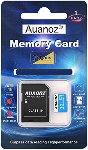 Scheda Di Memoria TF Da 32 GB, Auanoz Ultra Class 10 Scheda Di Alta Velocità Memoria per Telefono, Tablet e PC - Con Adattatore.(Blu-32gb)