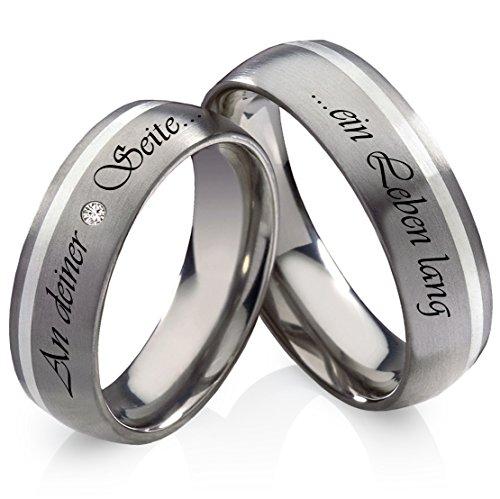frencheis Titanringe Verlobungsringe Eheringe Trauringe Hochzeitsringe aus Titan und 925 Silber mit Diamant und persönlicher Lasergravur TB16L