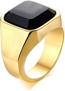 مجوهرات Vnox خاتم من الفولاذ المقاوم للصدأ أسود اللون للرجال والنساء وعد الخطبة