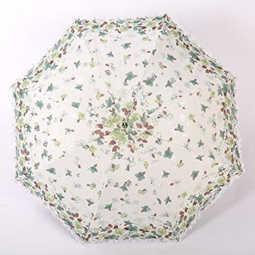 YFF@ILU Broderie dentelle cadeau d'amoureux en caoutchouc noir parapluies parapluie anti-UV pli parapluies parapluie ensoleillé,