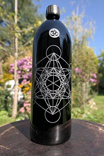 Botella de 1 litro, cristal miron/violeta 'Metatrons dados'