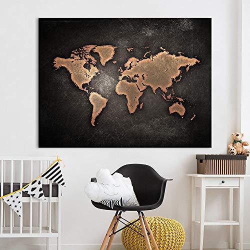 Canvas schilderij schilderij kantoor muur kunst enorme donkere wereldkaart schilderij op canvas afdrukken HD abstracte woondecoratie A 40x50cm Geen frame