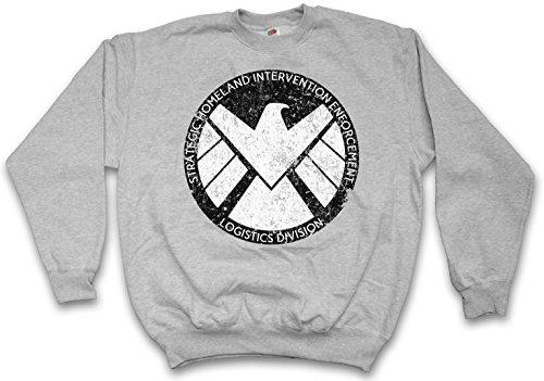 Urban Backwoods S.H.I.E.L.D. Vintage Logo I Sweatshirt Pullover Sweater Pull Gris Taille M