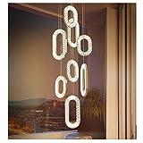 Luces colgantes de cristal Accesorios de iluminación LED pendientes Lámpara colgante creativa dúplex luminosa Luminaria de acero inoxidable de moda regulable en tres colores,D