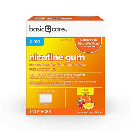 Basic Care Coated Nicotine Polacrilex Gum, 2 mg (nicotine), Fruit Flavor, Stop Smoking Aid, 160 Count