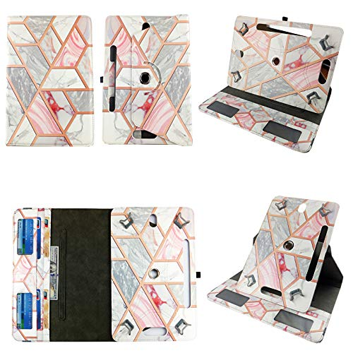 Gold Marble Blue Tablet case 7 inch for LG G Pad LTE 7' 7inch Android Tablet Cases 360 Rotating Slim Folio Stand Protector pu Leather Cover Travel e-Reader Cash Slots