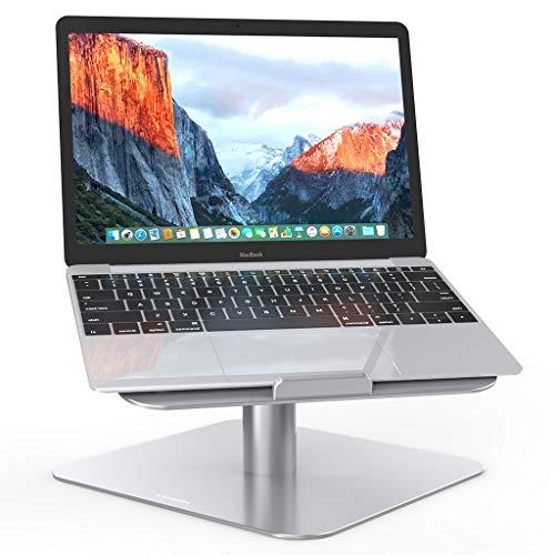 LANGRIA Base Ordenador Portátil 10 a 17 con Plataforma Giratoria 360 Grados, Soporte Ajustable para Ordenadores Tablets Compatible con MacBook, iPad, Notebook, Samsung, Lenovo y más (Plateado)