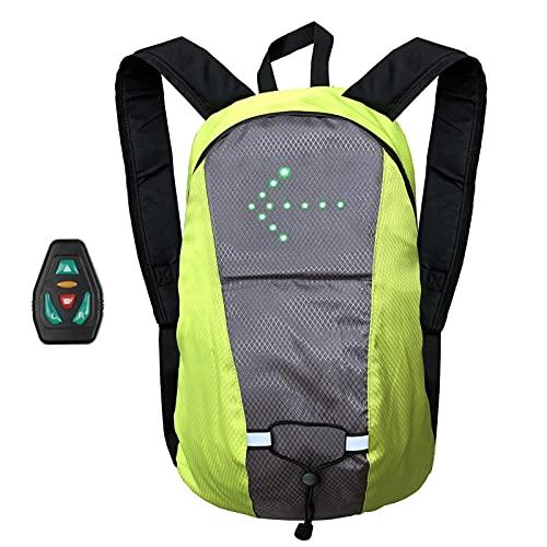 Zaino LED Indicatore di Direzione per Bici Zaino da Ciclismo Zaino per Bicicletta Impermeabile Gilet Riflettente di Sicurezza per Uomini Donne Corsa Notturna A Piedi,Giallo