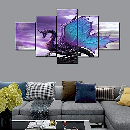 Animal/Wildlife Wall Art Fierce Chinese Dragon Paintings Mythology Creature Artwork 5 Pieces Canvas Pictures Living Room House Decorations Giclee Framed Ready to Hang Posters and Prints(60''W x 32''H)