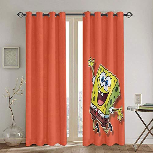 Cortinas Chid personalizadas Bob Esponja SquarePants para el dormitorio de las niñas impermeable cortina de ventana de 139,7 x 114,3 cm
