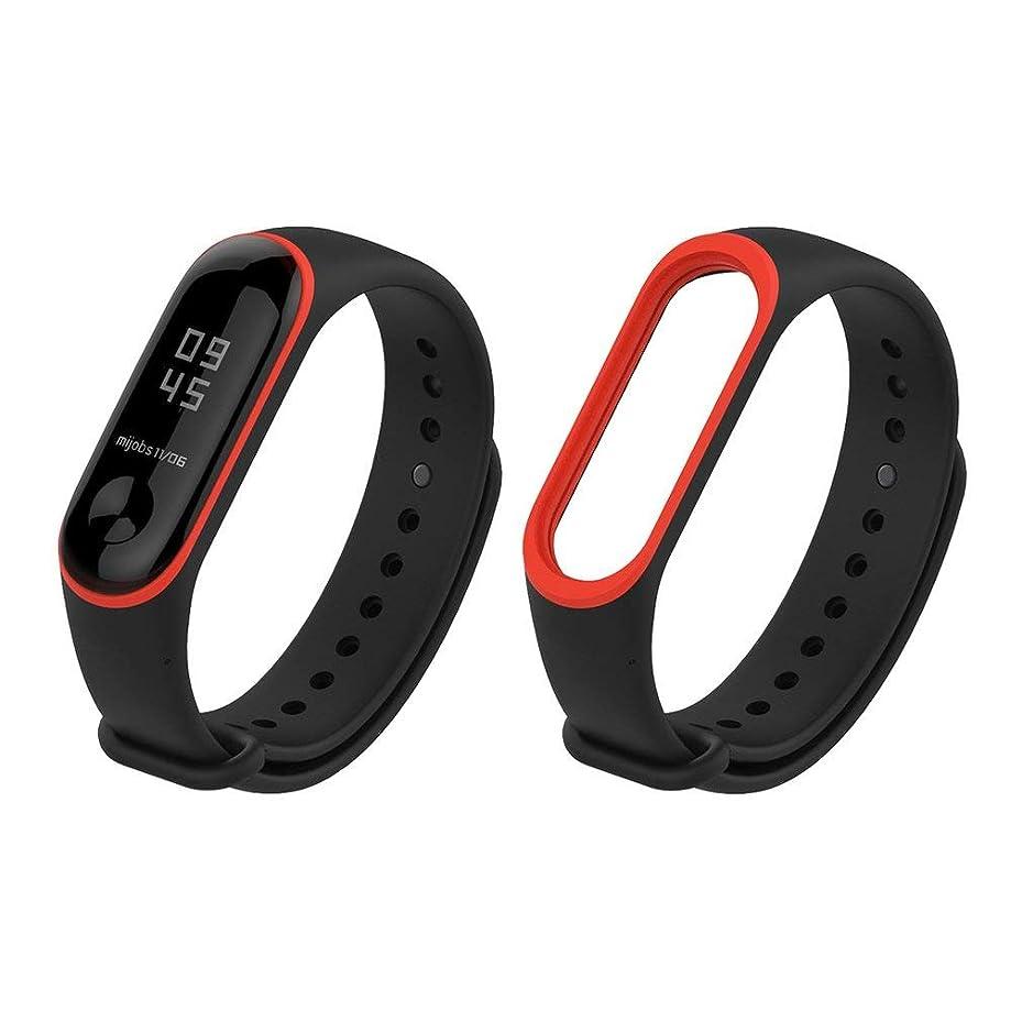 矢印毛細血管洗練されたMijobs Watch Xiaomi Miバンド3(カラー:レッド&ブラック)用ストラップソフトシリコンブレスレットリストバンド
