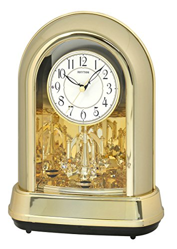 """Rhythm Clocks """"Crystal Dulcet II"""" Musical Motion Mantel Clock, Champagne"""