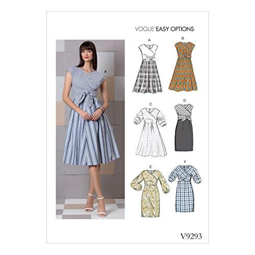 Vogue Patterns V9293E50 Dress Damenkleid, Tissue, Grün, 14-16-18-20-22