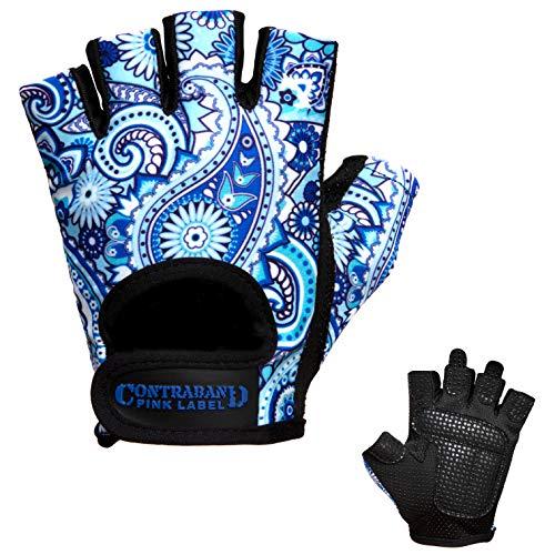 Contraband Pink Label 5387 Womens Design Series Paisley Print Lifting Gloves (Pair) - Lightweight Vegan Medium Padded Microfiber Amara Leather w/Griplock Silicone (Blue, Small)