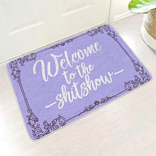Bannihorse Alfombra de bienvenida Shitshow, tamaño múltiple, lavable, para interior y exterior, para decoración del hogar, color blanco, 45 x 70 cm
