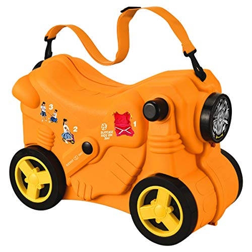 Macallen Children Suitcase Ride on Luggage for Baby Girls and Boys Travel Childrens 3 Years and Above Motorcycle Model with Rolling Wheels 47 x 21 x 34 centimetres Orange