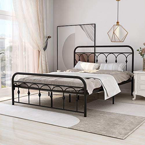 Zoophyter Queen Size Metal Bed Frame with Vintage Headboard and Footboard,Platform Mattress Base No Box Spring Needed,Black