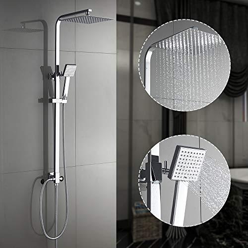 Auralum Duschsäule Duschset ohne thermostat, Edelstahl Duschsystem mit 25CM Regendusche verstellbar Handbrause Chorm, Höhenverstellbare Duschstange (ohne Armatur)