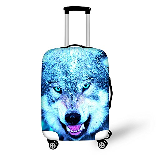 HUGS IDEA Personalized Wolf Face Luggage Productive Cover for 18/20/22 Inch Trolley Suitcase