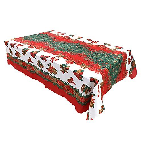 Navidad Mantele Mantel de Navidad Tema del Invierno Árbol Manteles de Mesa de Fiesta Mantel para Mesa Rectangular Resistente al Agua Lavable Colores No Destiñen Personalizado 150*180cm