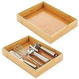 mDesign Cubertero para cajón de bambú – Caja de madera apilable para...
