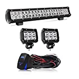 20 Inch LED Light Bar 126W Spot Flood Combo LED Bar 2PCS 4Inch Spot Pods Cubes with Rocker Switch Wiring Harness for...