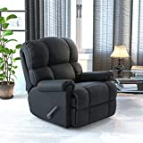 Flash Furniture Rocker Recliner - Sierra Black Microfiber Upholstery - Standard Size Recliner