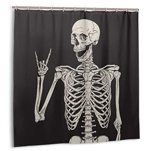 Cool Skull Rock & Roll Shower Curtains for Bathroom Bright Fabric White Skeleton Black Backdrop Water-Proof Bath Curtain with 12 Hooks 72'' X 72''