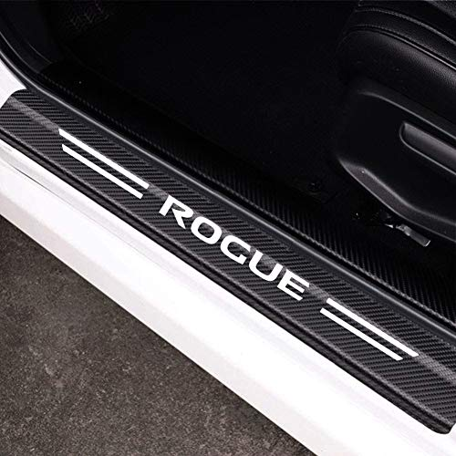MAXDOOL 4Pcs Nissan Rogue Door Sill Protector Reflective 4D Carbon Fiber Sticker Decoration Door Entry Guard Door Sill Scuff Plate Stickers Accessories for Nissan Rogue (White)
