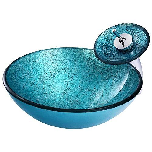 HomeLava Modern Glas Waschbecken Set Rund Gehärtetes Glas Waschtischplatte in Türkis mit Wasserfall Wasserhahn