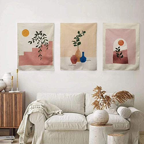 GYW Cute Tapestry Wall Hanging Sun Botanical Abstract Art Tapestries Living Room Bedroom Dorm Wall Art Home Decor 15.7x19.7 Pack of 3 (Beige)