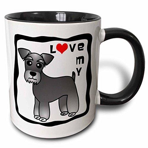 Queen54ferna Ik hou van Mijn Miniatuur Schnauzer Hond - Gestreepte jas (zout en peper) - Rood Hart Twee Toon Zwarte Mok, 11 Oz, Multi kleuren