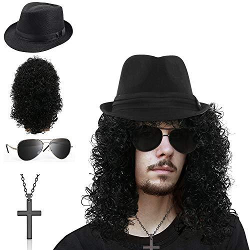 SPECOOL Kit de Roquero de Los 90 Metal Pesado Disco Peluca Disfraz Accesorios con Sombrero Gafas de Sol Colgante de Cruz Peluca de Negro Rizado Largo Accesorios de Disfraces Rocker