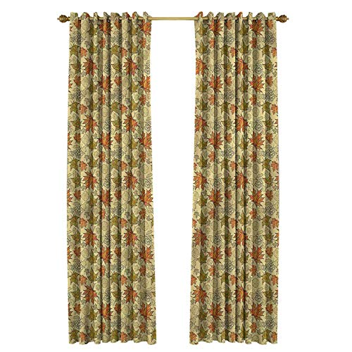 Autumn Fall Decoration Curtains for Living, Dining Room, Bedroom Grunge Maple Leaves 50' W x 84' L