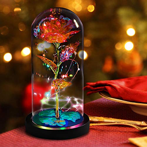 Galaxy Flowers Rose Birthday Gift for Women Mom Grandma, Enchanted Infinity Rose in Glass Dome, Mother's Day Anniversary Wedding Teacher Appreciation Gifts
