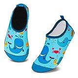 Badeschuhe Kinder Schwimmschuhe Wasserschuhe Schnell Trocknend Strandschuhe Aquaschuhe für Jungen Mädchen Baby Beach Pool(Blau Wal,7/7.5 UK Child,24/25 EU)
