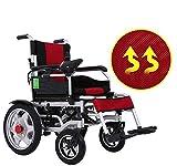CSPFAIZA Silla de Ruedas Eléctrica Plegable Inteligente, Scooters de Seguridad de 4 Ruedaspara Personas Mayores y Discapacitadas - Rojo