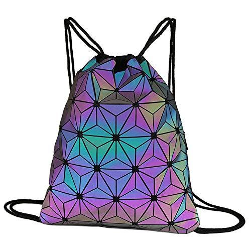 Milya Geometrische Sporttasche Rucksack mit Tunnelzug Leuchtend Turnbeutel Reflektierend Jutebeutel Sportbeutel Strandbeutel Gymbag Gymsack