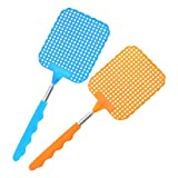 com-four 2x extendable telescopic fly swatter for pest control, mosquitoes and insects - 27-72 cm extendable - [color varies] (02 pieces - assorted colors V2)