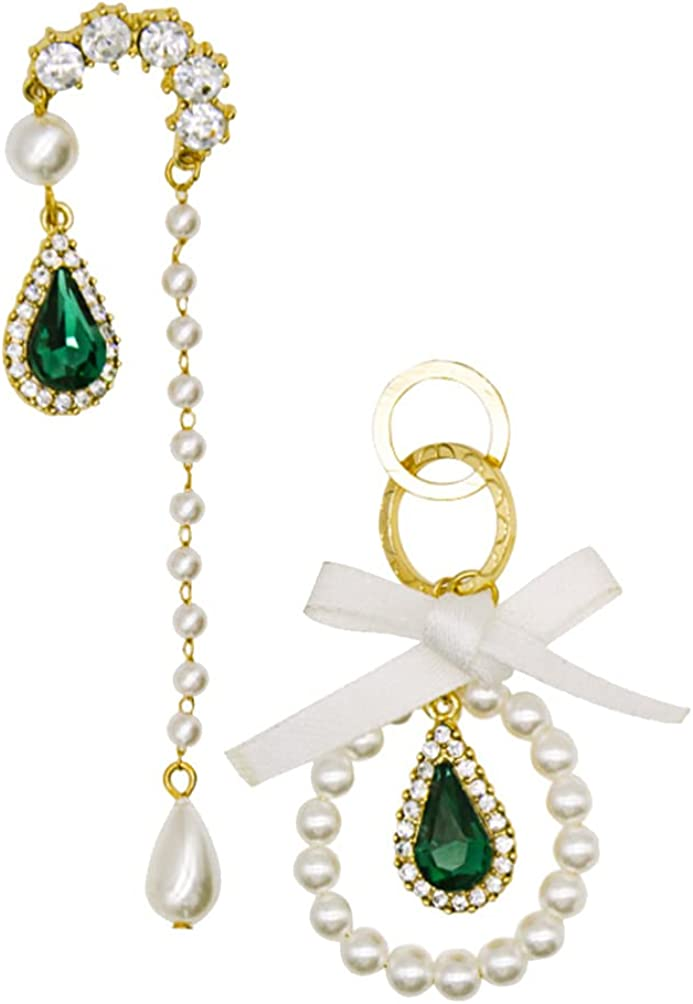 Happyyami 1 Pair Rhinestone Crystal Stone Dangle Earrings Asymmetric Pearl Earrings Ear Hook Drop Earrings Ear Jewelry for Women Girls Birthday Wedding Gift