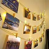 Ibello - Guirnalda luminosa de luces para fotos, 100 LED, 10 metros, 20 clavos, 60 pinzas de madera, clip para fotos, polaroid, luz blanca cálida, decoración para dormitorio, pared o boda cumpleaños
