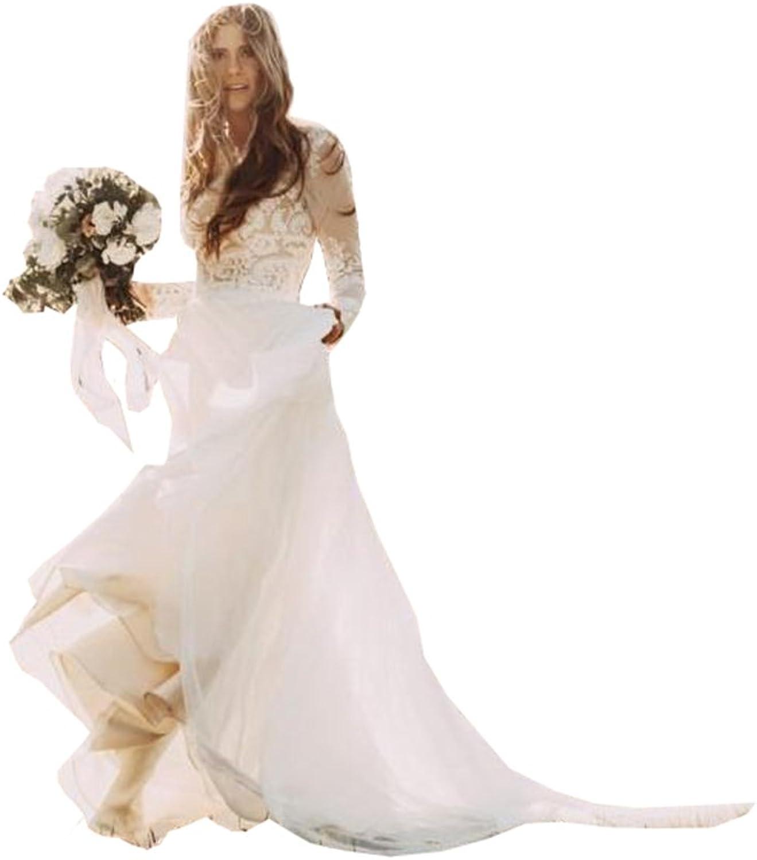 Ellystar Women's Simple ALine Long Sleeves Lace Applique Jewel Wedding Dresses