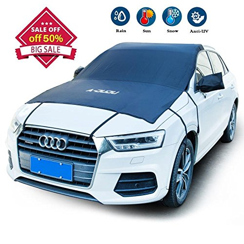 A-DUDU Premium Car Windshield Snow Cover - Extra Large 81'x73' Fit for Most Vehicles - Design Protects Windshield and Wipers from Snow, Ice, and Frost Build up - 8 Super Strong Stretchy Rope