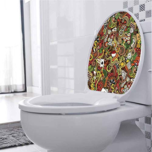 Art Sticker Murals Style Bingo Excitement Checkers King Vegas 3D Toilet Seat Lid Cover Decals Stickers Funny Fun Home Decor, 33 x 41 cm